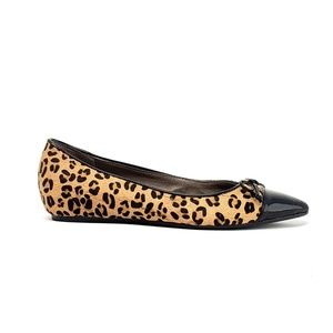 Levity Leopard Leather Pointed Toe Flat